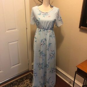 Pinkblush Maternity Maxi Dress Blue Size Small NWT